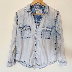 GRG Acid Wash Button Down Shirt